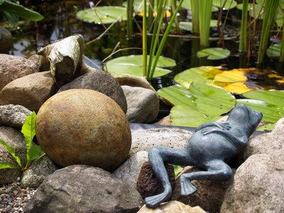 Lustige Figur am Gartenteich